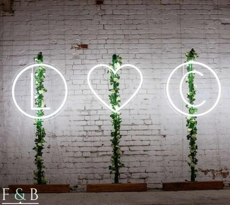 neon initials for wedding