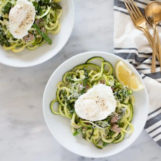Zoodles with asparagus and prosciutto