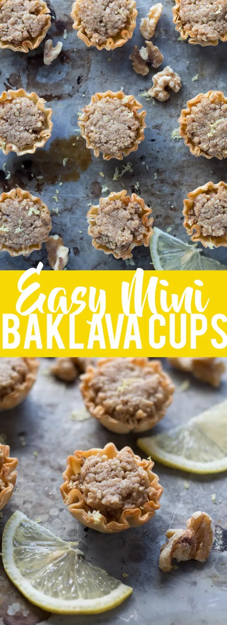 These Mini Baklava Cups are a cute, bite sized dessert with all the flavors of baklava - but without all the work! Only a few ingredients and 20 minutes will give you these perfect mini desserts!