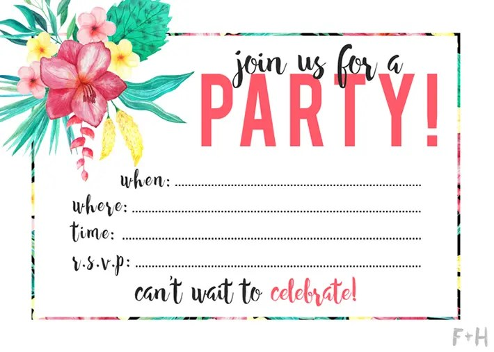 free printable tropical party