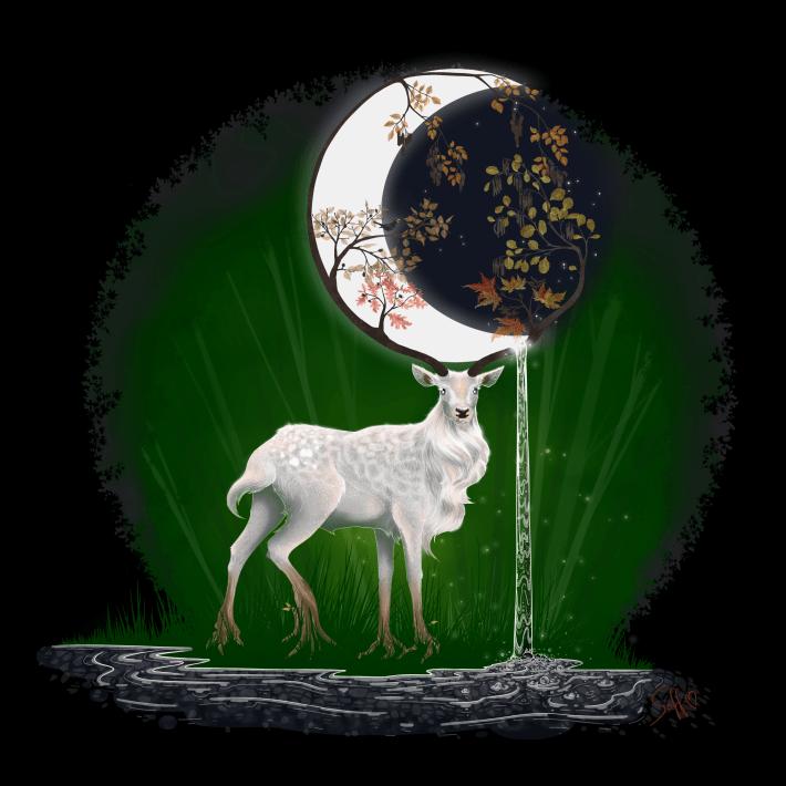 Herr des Waldes Illustration Forest Spirit Magic Fantasy Nature Moon