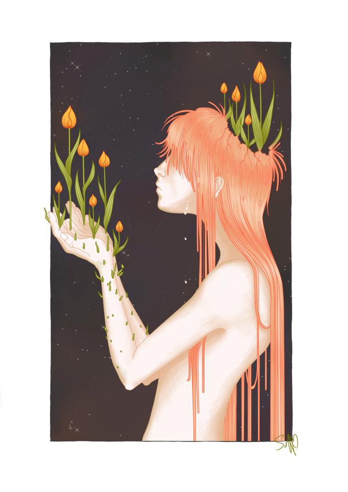 Tulip Boy Illustration Fantasy Flowers Ginger