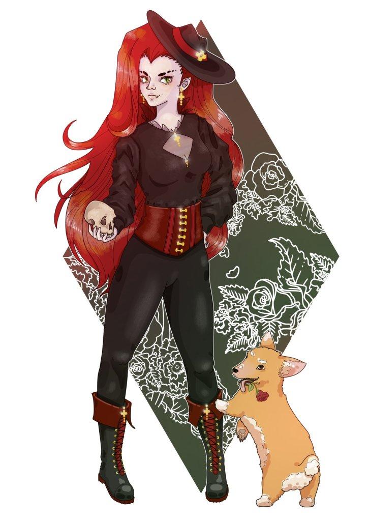 A character illustration for Vampire Lady Kiuna
