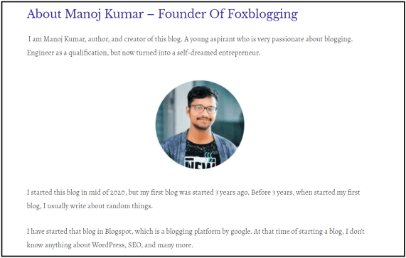 Foxblogging about page - Manoj kumar