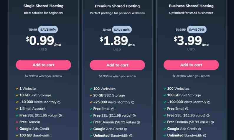 Siteground Alternatives - Hostinger prices