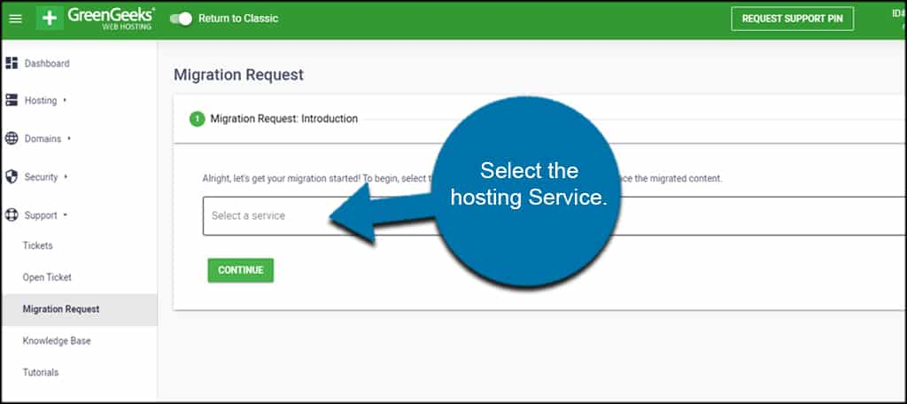 Free Migration request to hosting