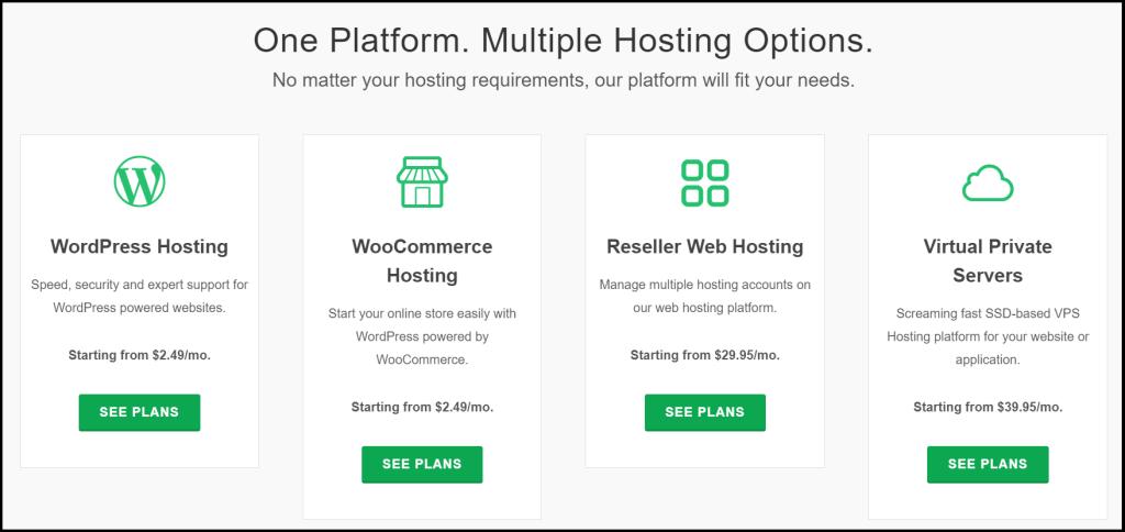 GreenGeeks Different hosting plans