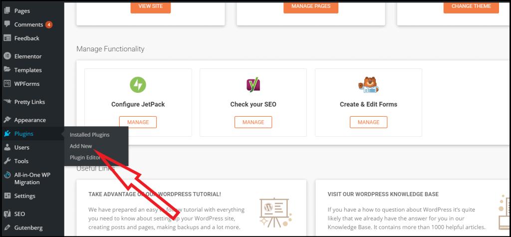 Navigate to WordPress plugin