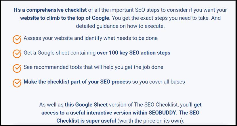 Benefits of SEO checklist by SEO buddy
