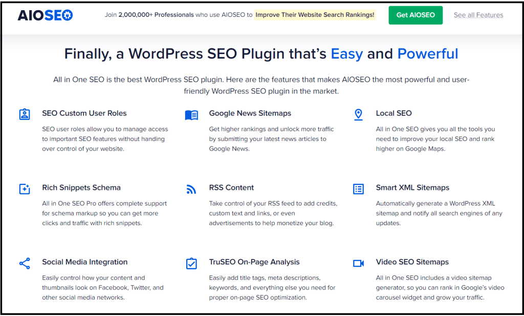 Features on All in One SEO plugin for WordPress