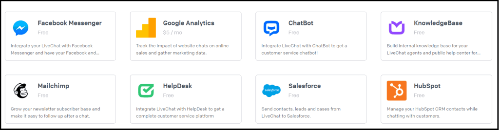 LiveChat integrations