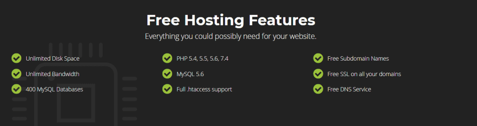 InifnityFree Hosting features