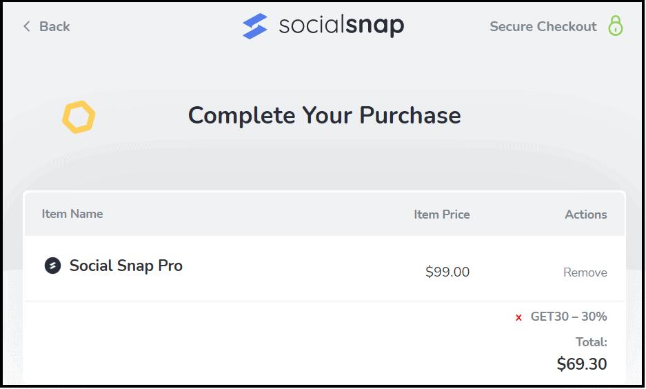Social Snap Coupon code discounts