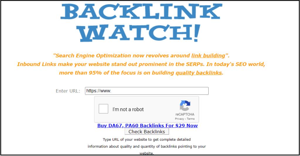 Free backlink finding tool for websites - Backlink watch