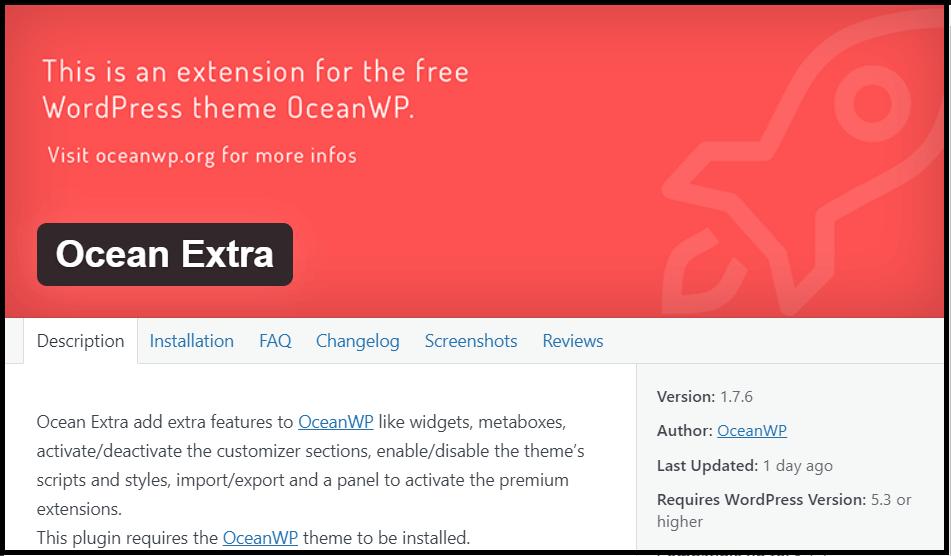 Install Ocean Extra Plugin extension