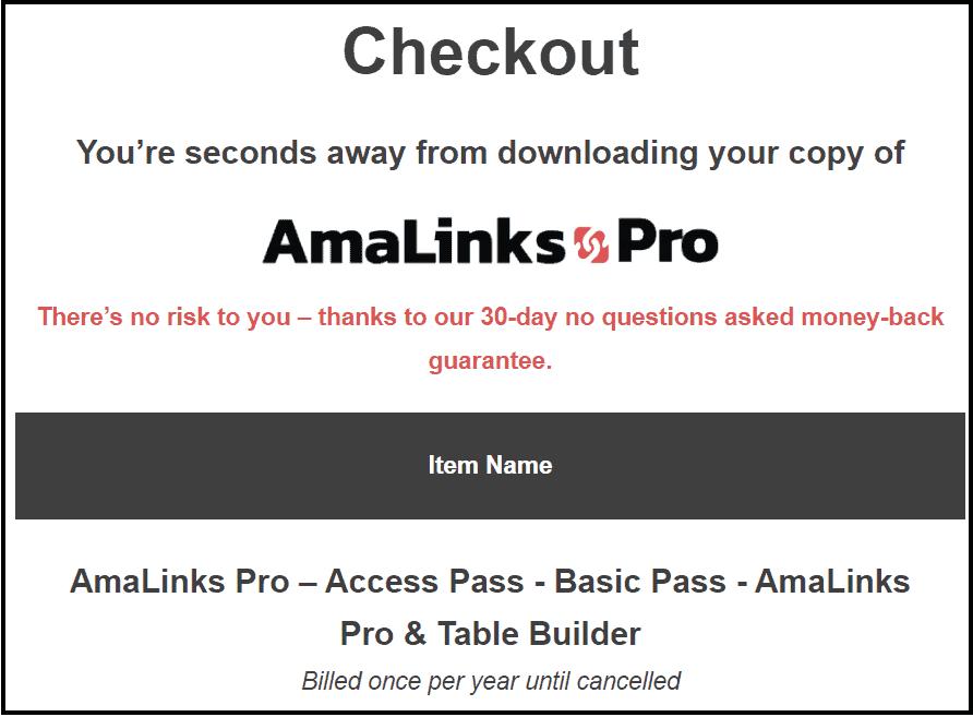 Amalinks Pro checkout