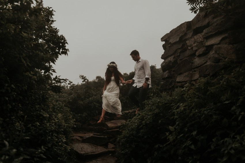 adventure elopement and wedding photographer craggy gardens nc