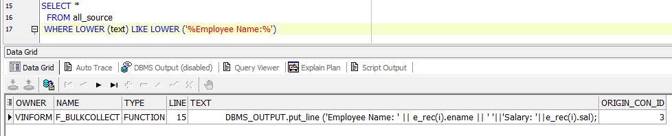 search a string in Oracle Database