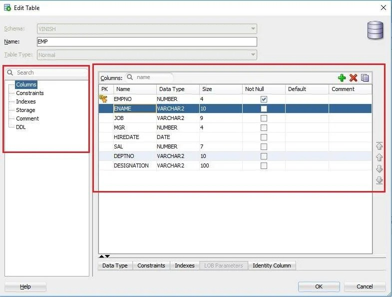 modify table structure using Oracle SQL Developer