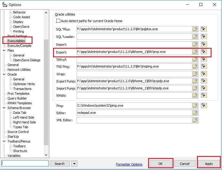 Set the export utility path in Toad options