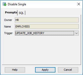 Disable a trigger in Oracle SQL Developer