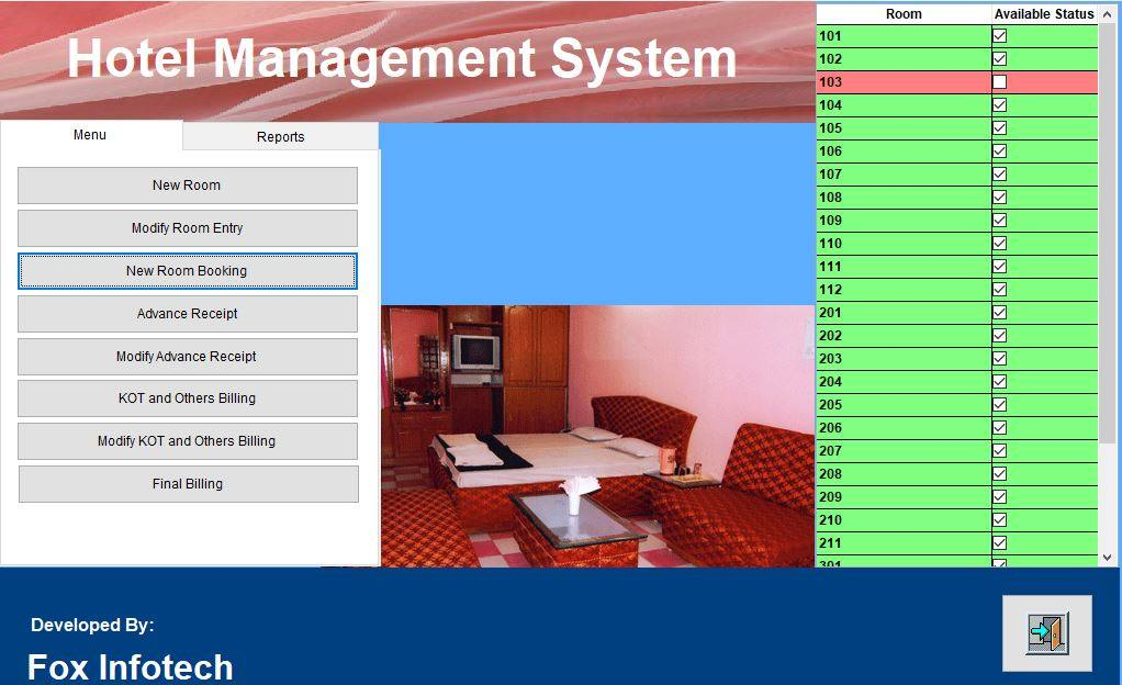 Hotel software home page.