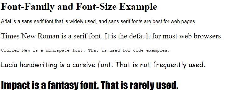 CSS font-family examples.