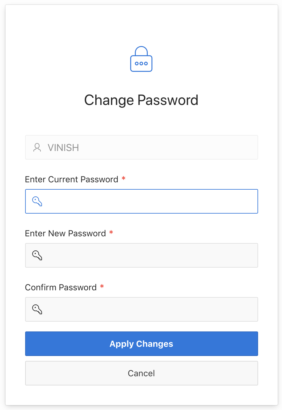 Create Change Password Screen for Custom Authentication in