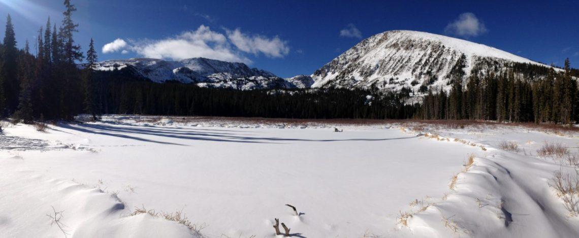 winter hiking and snowshoeing - Mohawk Lake