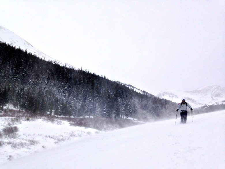 winter hiking and snowshoeing - windet storm