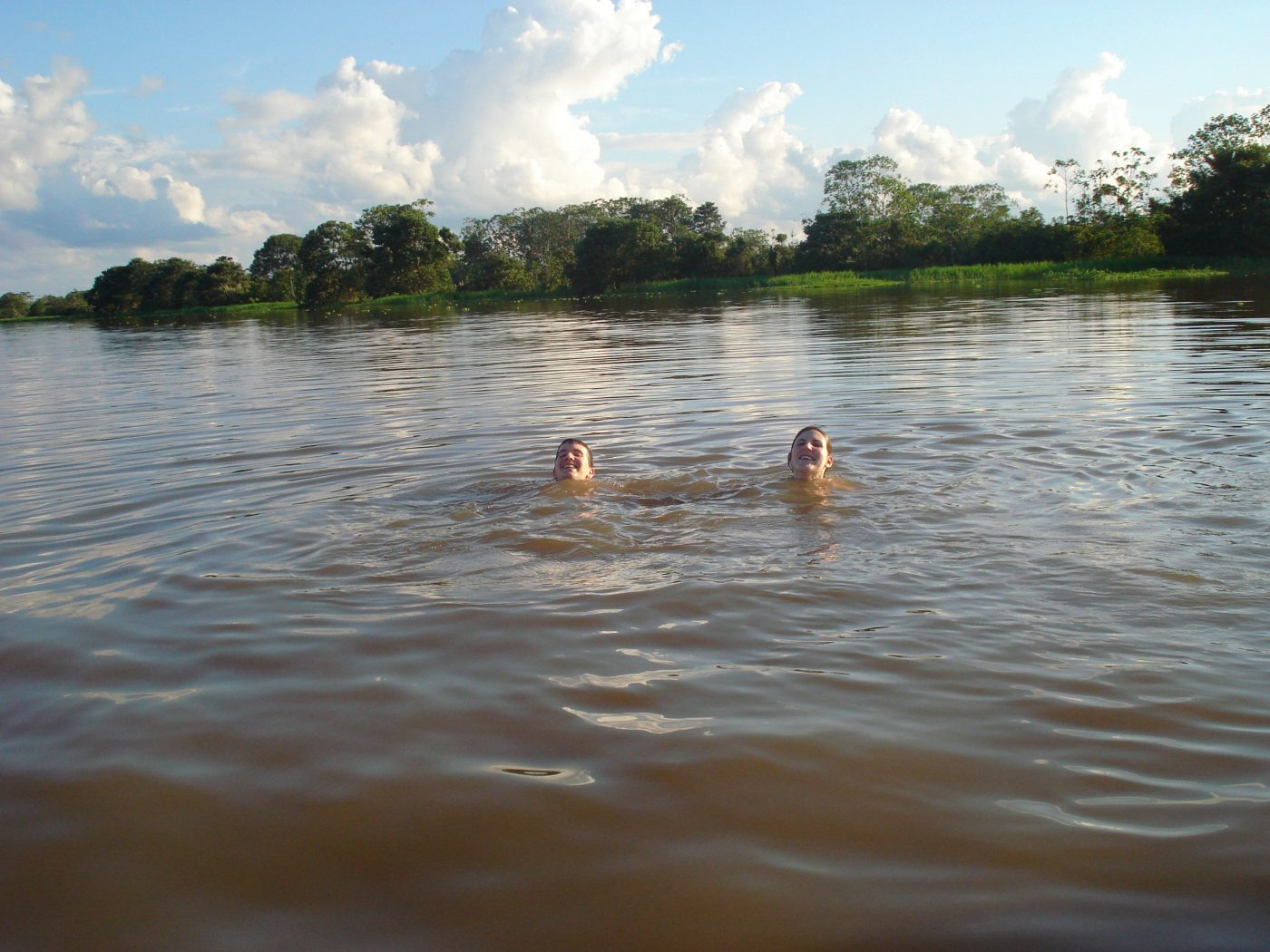 swiming in the peruvain amazon