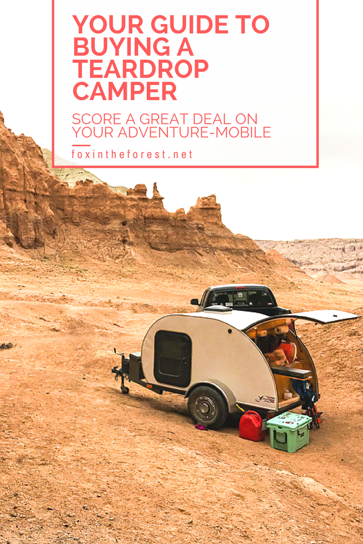 Your complete guide to buying a travel trailer. Tips and tricks on how to score a good deal on a teardrop camper. An in-depth look at what you should look for and what you can easily upgrade on your own. #teardropcamper #camper #camping #outdoors