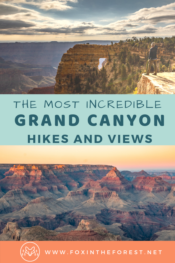 Your complete guide to hikes on the North Rim of Grand Canyon National Park. Where to stay on the North Rim. How to camp at the Grand Canyon. Best hikes and viewpoints in the Grand Canyon. Tips and tricks for visiting the north rim of Grand Canyon National Park. Suggested itinerary for Grand Canyon National Park. #grandcanyon #nationalparks #hiking #bestUShikes #arizona