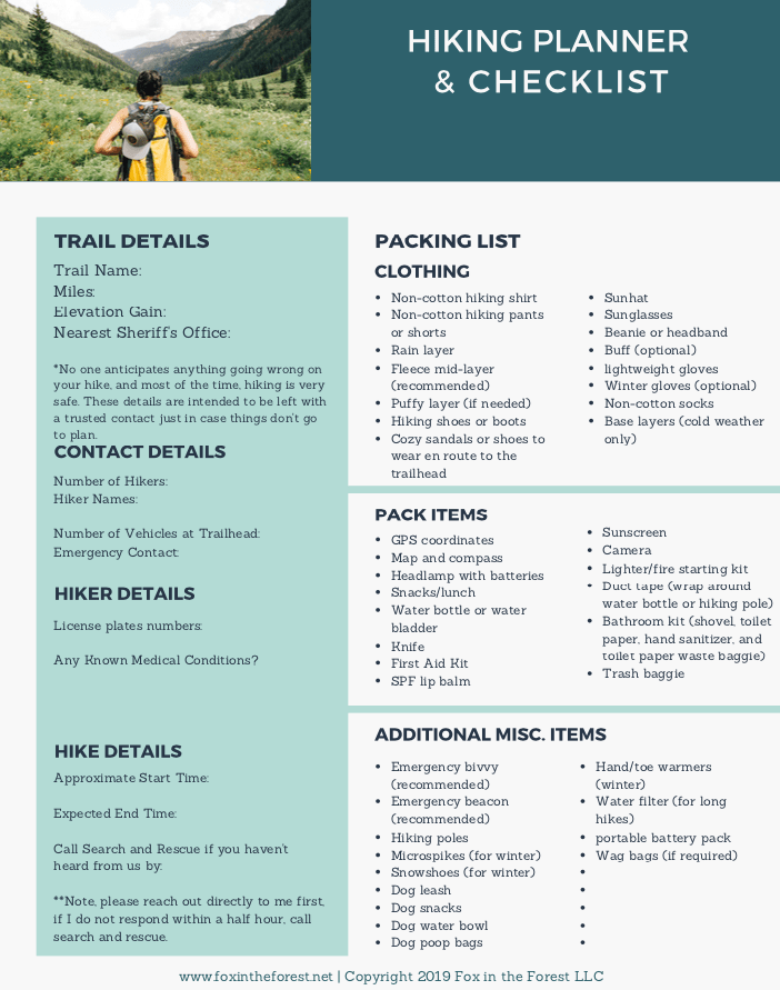 free hiking planner and packing list