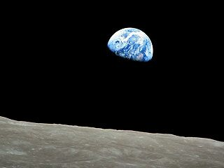 The famous full-color image of the Earth rising over the moon. (NASA)