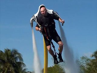 Making a big splash with the JetLev water-powered jetpack. (MS Watersports GmbH)