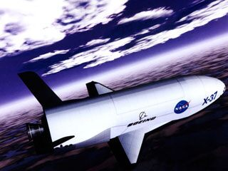 Artist concept of the X-37 advanced technology flight demonstrator re-entering Earths atmosphere. (NASA)