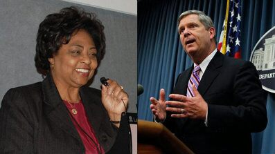 Shown here are Shirley Sherrod, left, and Agriculture Secretary Tom Vilsack. (AP Photos)