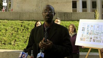Oct. 19:  Claude Rwaganje, a resident of Portland, Maine, for more than 13 years, speaks at a news conference. Portland residents will vote in November on a proposal that would give legal residents who are not U.S. citizens the right to vote in local elections.