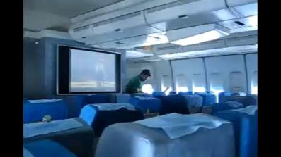 image taken from a video of the inside of the cabin of Flight IR744 in May 2007