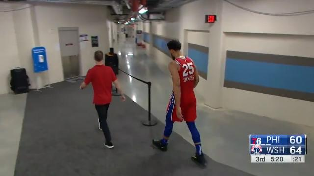 Injured Simmons leaves court