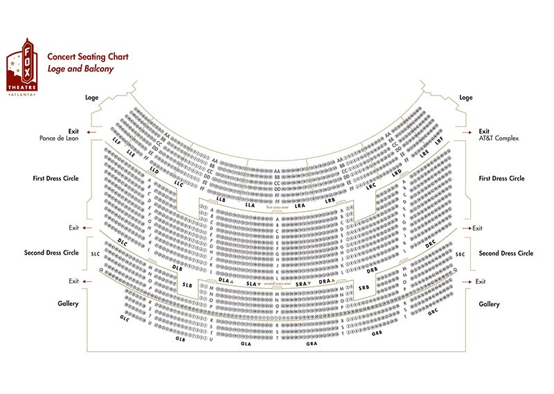 Fox Theater Seating Chart With Seat Numbers Atlanta Www