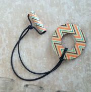 adjustable wood hair ring - aztec