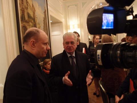 Filming with chairman Vladimir Potanin and director Dr Mikhail Piotrovsky.