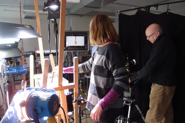 Filming inserts at Winsor & Newton
