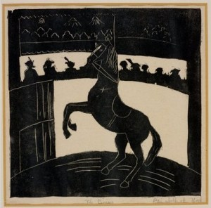 A lino cut of a circus horse made by the Queen
