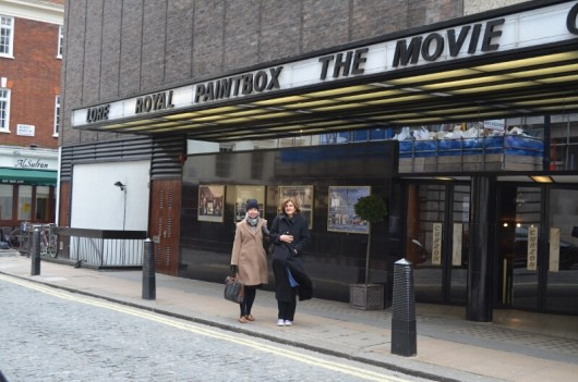 Royal Paintbox the Movie up on the marquee at Curzon Mayfair in freezing cold weather