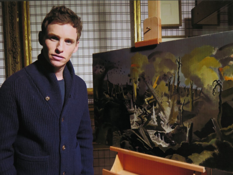 "Eddie Redmayne on location filming ""War Art"" at Imperial War Museum London"