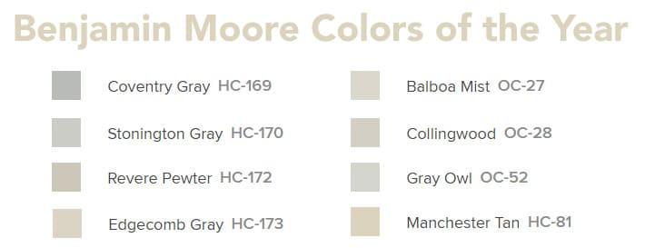 Benjamin Moore Colors of the Year