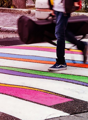 colorful crosswalks